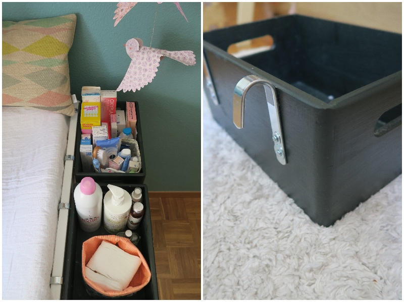diy les caisses de rangement pour table langer. Black Bedroom Furniture Sets. Home Design Ideas